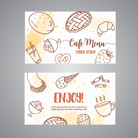Bakery business card template with pastries. Sweet pastry, cupcakes, dessert cards with chocolate cake, sweets. Ice Cream Hand drawn sketch. Vector
