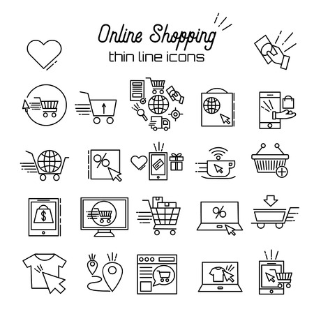 Online shopping Vector Line Icons. E-commerce pictogram symbol outline thin icon Discount, shopping cart, shop, sale, online store, payment, bags, mobile shop, wish list