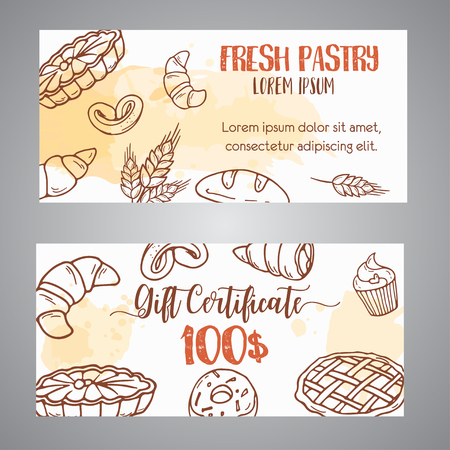 Vintage gift certificate with sketch bakery, pastries, sweets, desserts, cake, muffin and bun.