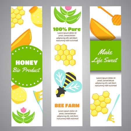 Honey vertical banners with flat honey elements. Poster with bee, beehive, jar, honeycomb. Web header with Vector Illustration