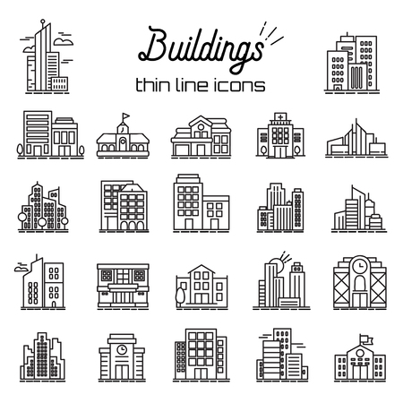 Building icons set. City, Headquarters and Buildings line Vector Icons