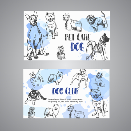 Hand drawn dogs breeds pet care business card. Sketch of dog. French bulldog, dachshund, Husky, Yorkshire Terrier Dog club banners Vector