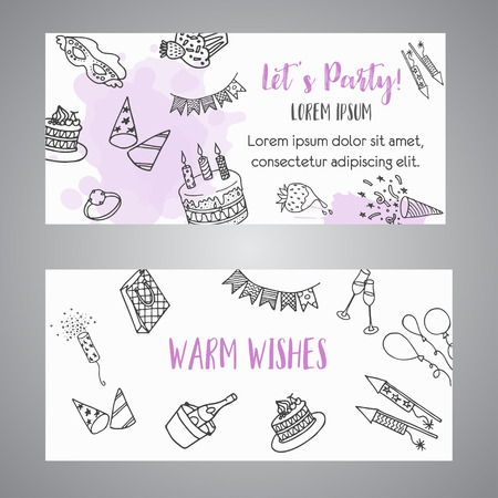 Birthday party doodle banner. Vector template banners for cards, invitation, flyer, party, wedding, brochure with hand drawn party celebration text