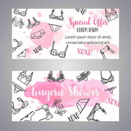 Lingerie shower card Fashion bra and pantie. Bridal invitation template Vector Vectores