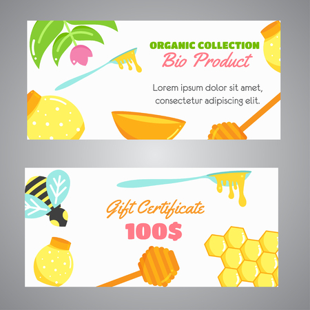 Honey horizontal banners with flat honey elements. Poster with bee, beehive, jar, honeycomb. Web header with Vector