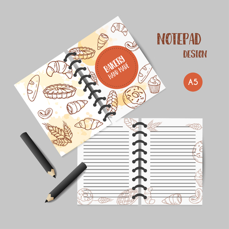 Vintage notes with sketch bakery, pastries, sweets, desserts, cake, muffin and bun. Hand drawn printables design for menu, banner, card, bakery shop Vector illustration Ilustrace