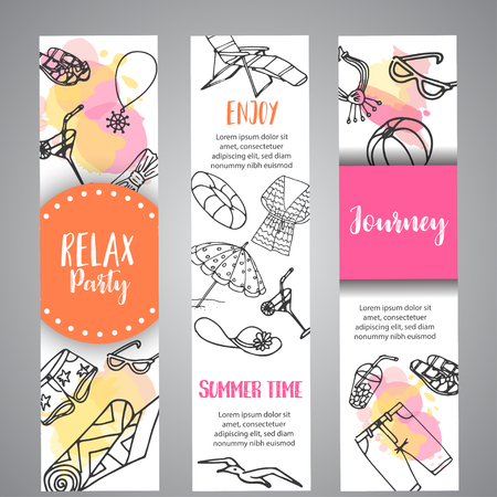Summer hand drawn banner. Beach doodle elements. Vacation and trevel to the sea Sketch Vector illustration