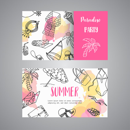 Summer hand drawn business card. Beach doodle elements. Vacation and trevel to the sea Sketch Vector illustration Ilustrace