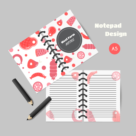Organizer with meat products. Flat meat farm elements. Butcher promo printables, cards, brochure, notes, promotion. Vector illustration Ilustrace