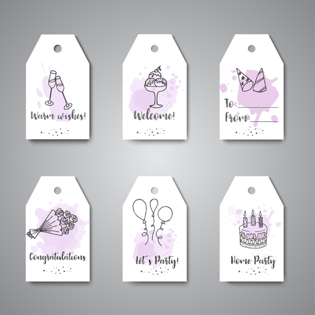 Birthday party doodle gift tags. Vector template banners for poster, invitation, flyer, party, wedding, brochure with hand drawn party elements