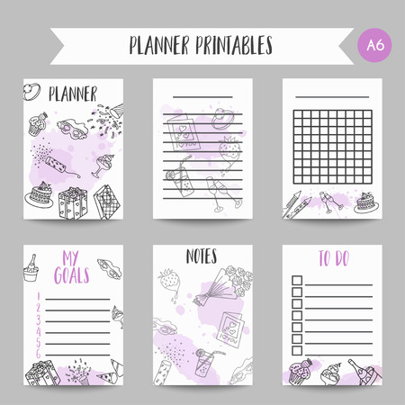 Birthday party doodle pintable cards. Vector template printables for poster, invitation, flyer, party, wedding, brochure with hand drawn party elements Organizer and notes design