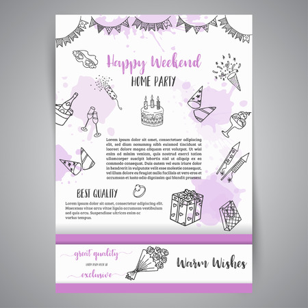 Birthday party doodle posters. Vector template banners for cards, invitation, flyer, party, wedding, brochure with hand drawn party elements  イラスト・ベクター素材