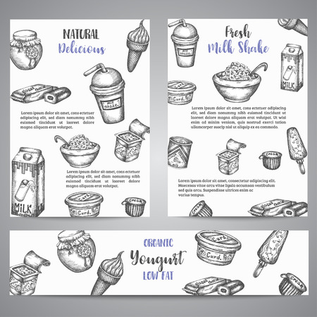 Dairy sweet Brochure collection hand drawn vector illustration with dairy elements, dairy Vintage retro style.