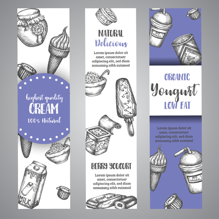 Dairy sweet Banners collection hand drawn vector illustration with dairy elements, Vintage retro style.