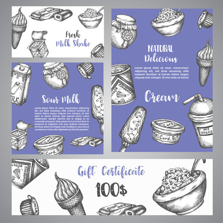 Dairy sweet Gift certificate with sketch . Hand drawn design for menu, banner, card, dairy shop Vector illustration. Ilustrace