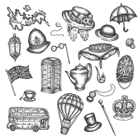 Sketch of London symbols Objects symbolizing England Vector hand drawn illustration of great britain UK elements in victorian vintage style Ilustrace