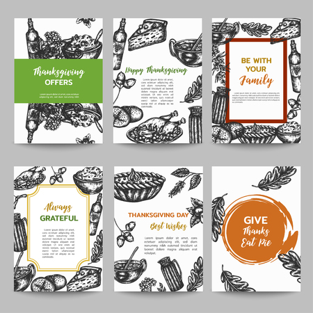 Thanksgiving day set of cards collection hand drawn vector illustration with autumn elements, food Vintage retro style.