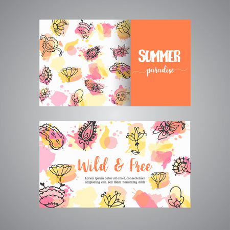 Creative cards with flowers. Hand drawn floral elements. Enjoy summer text Vector template banners for poster, invitation, flyer, party, wedding, bussines card