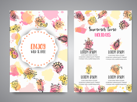 Isolated creative background cards with flowers. Hand drawn floral elements. Vector template banners for poster, invitation, flyer, party, wedding, brochure with flower Ilustrace