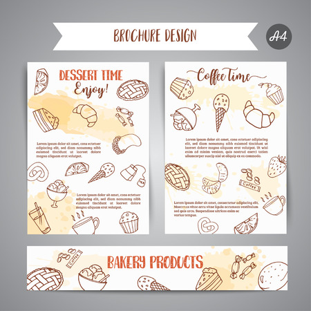 Bakery poster template with pastries. Sweet pastry, cupcakes, dessert cards with chocolate cake, sweets.