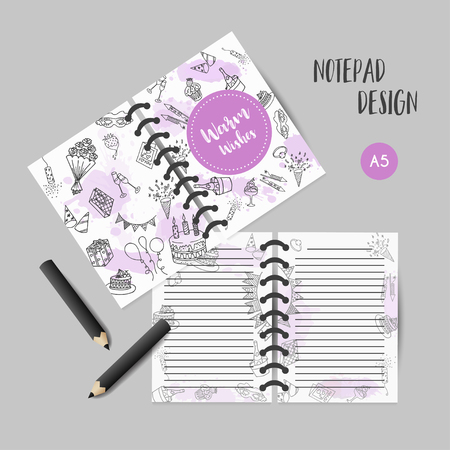 Birthday party doodle organizer template. Note book with warm wishes text Hand drawn party elements illustration