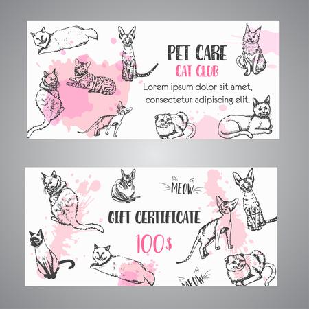 Cat breeds gift voucher. Follow my feet text Vector illustration Cute kitten sketch certificate template Ilustrace