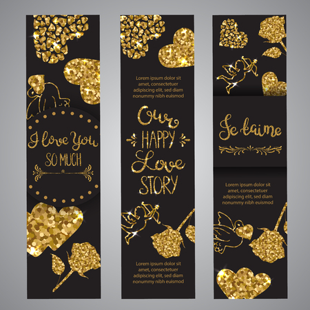 Love text on set of banners Romantic lettering with glitter on black background Golden text with sparkles. Cards for valentine day. Vector illustration