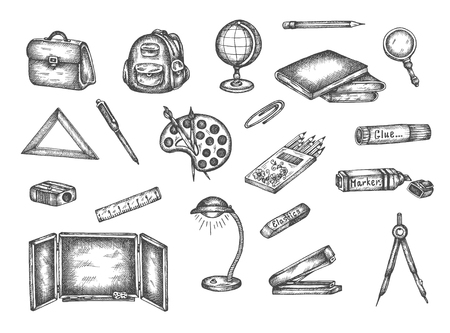 Back to school hand drawn vector set doodle elements isolated on white background