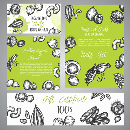 Gift certificate with sketch Nuts and Seeds. Hand drawn design for menu, banner, card, Nuts and Seeds shop Vector illustration.