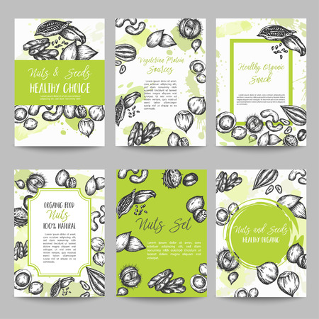 Nuts and Seeds set of cards collection hand drawn vector illustration with Nuts and Seeds elements, Vintage retro style