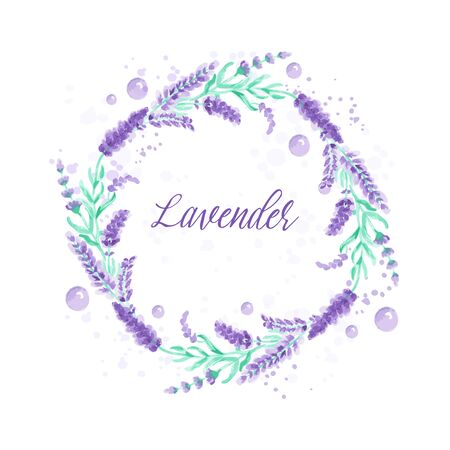 Lavender wreath. Watercolor imitation design with paint splashes Vector illustration Provence style. Card with floral elements. Violet flower Drawing for greeting cards, wedding invitations