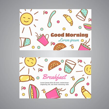 Good Morning text. Breakfast slogan. Cafe, bakery concept business card. Coffeee and tea vector design Line icons vector
