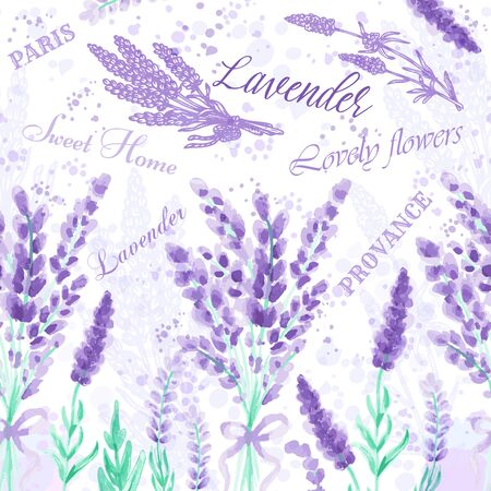Lavender seamless pattern Watercolor imitation design with paint splashes Floral print Vector illustration Provence style Purple aromatic flowers Background with text