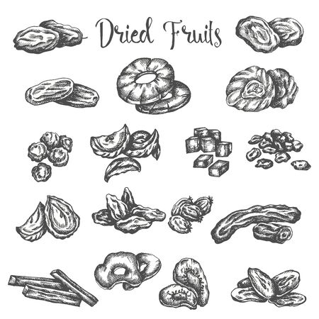 Dried fruits hand drawn illustration. Healthy snack Dry raisins, prunes and figs. Sketch of dehydrated pineapple, apricot Vector design for fruit shop or market isolated on white background Vectores