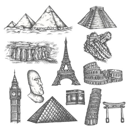 Attractions of the world in sketch style. Famous sights of the world. Travel set with pyramids, eiffel tower, colosseum and stonehenge. Vector line illustrations isolated on white