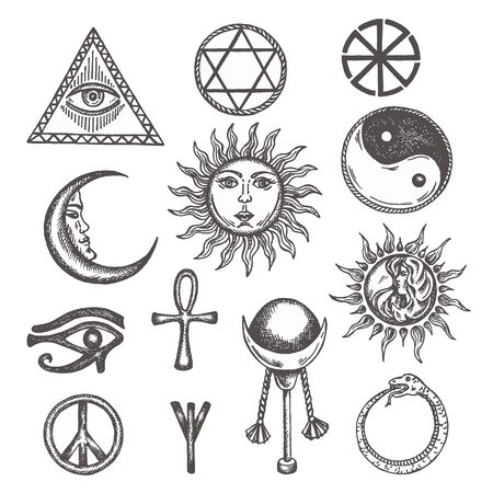 Icons and symbols of white magic, occult, mystic, esoteric, masons Eye of Providence. Hand drawn alchemy, religion, spirituality, occultism Sketch of mystery pentagram