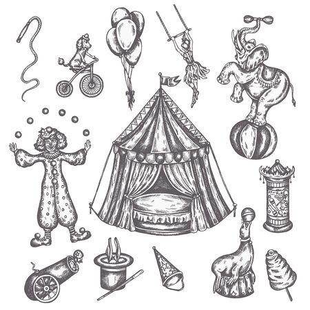 Circus vintage icons set. Hand drawn sketch of animals and amusement Vector illustrations of performens