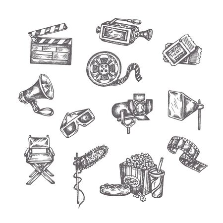 Vector sketches of cinema. Hand drawings on a white background. Entertainment arts handdrawn decorative icons set