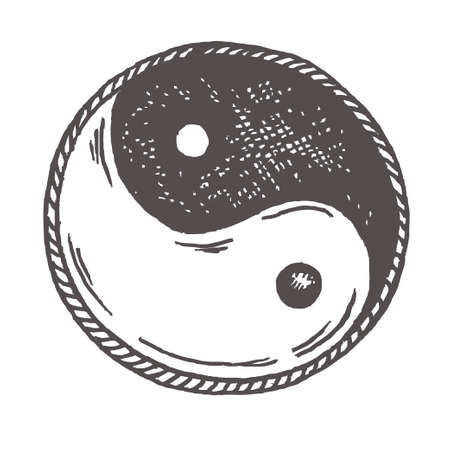 Ying yang sketch symbol isolated on white sketch
