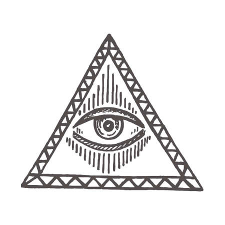 Illustration with an all-seeing eye Masonic symbol Hand-drawn vector sign Esoteric and magical icon