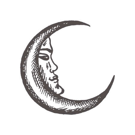 Crescent moon in antique style Hand drawn vector illustration
