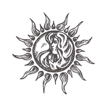 Sun with face stylized as engraving Hand drawn Vector astrology symbol Retro style