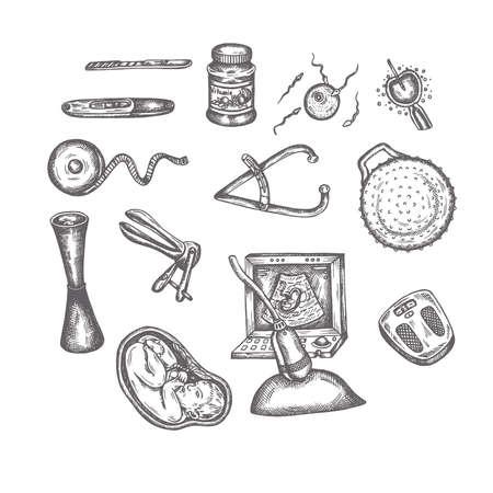 Hand Drawn Pregnancy elements Sketches Set