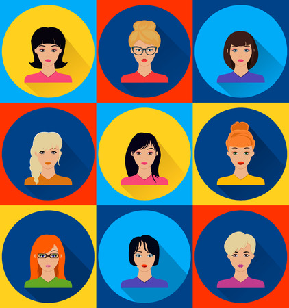 vector image of female faces flat
