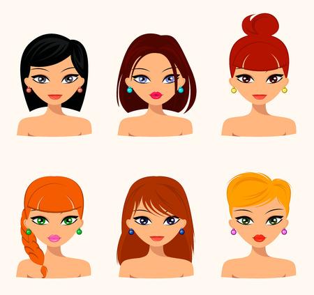 Junge hübsche Frauen, Gesichter hübsch mit verschiedenen Frisuren, Haarfarbe. flaches Design, Schönheit und Mode. Vector editierbare Standard-Bild - 65327349