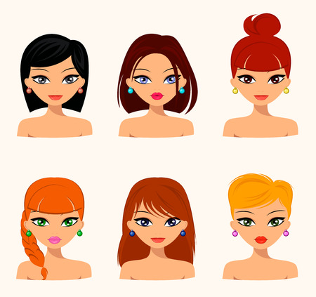hair color: Young pretty women, pretty faces with different hairstyles, hair color. flat design, beauty and fashion. Vector editable Illustration