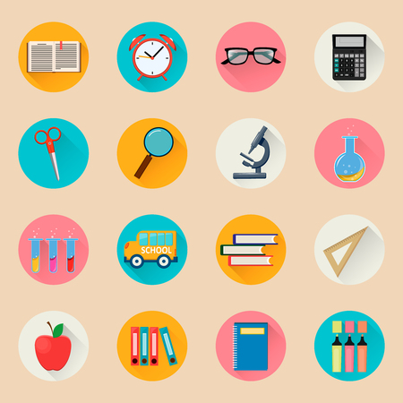Objects for school. Back to study. Set of round flat icons. Vector Illustrations. Illustration