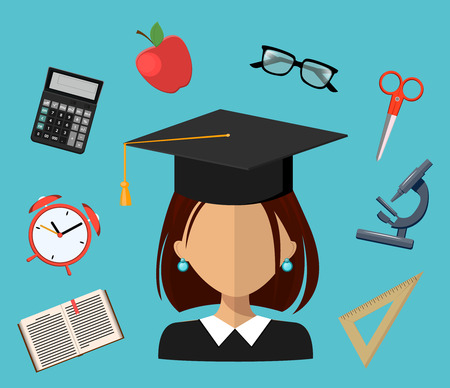 Back to school. Set of illustrations. Flat simple design. Icons arranged in a circle and student in square academic cap in the middle