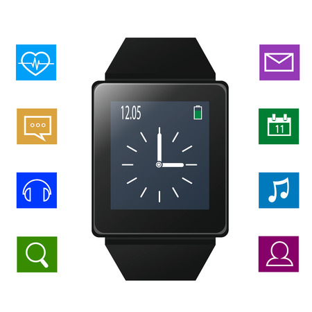 sms: Smart watch with icons near gadget
