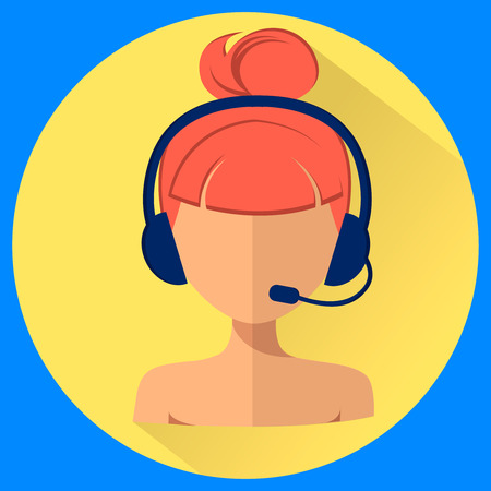 Call center operator avatar. Woman with a headset. Web icon, flat style vector illustration